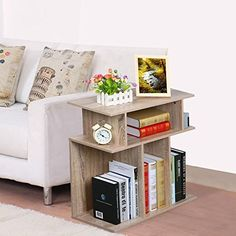Topeakmart Wood End Table Side Sofa Console, Storage Stand, Accent Side Table in Reclaimed Vintage Look, Oak Small Accent Tables, Small End Tables, Sofa End Tables, End Tables With Storage, Coffee Tables, Industrial Design Furniture, Furniture Design, Furniture Projects, Contemporary Furniture