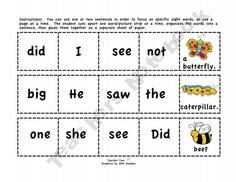 Cut-and-Glue Sight Word Sentences for Spring SAMPLE