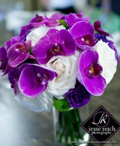 purple white wedding bouquet