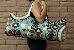 PIPER Yoga Tote in light teal blue with orange and brown, Handmade @ ChellaBellaDesigns on Etsy