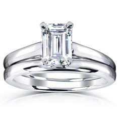 Kobelli 1 Carat Emerald-cut Moissanite Solitaire Bridal Rings Set in White Gold, Size: 9 Emerald Cut Moissanite, Moissanite Bridal Sets, Moissanite Rings, Bridal Ring Sets, Bridal Rings, 1 Carat, Emerald Cut Diamonds, Diamond Cuts, Wedding Rings Solitaire