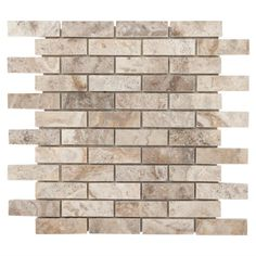 Camila Polished Brick Travertine Mosaic - 12in. x 12in. - 932100627   Floor and Decor