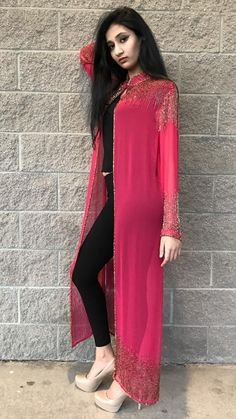 Drape jacket - Beautiful Shrug Jacket Modern Standard Look Indian Bollywood style Only jacket Handmade Pakistani Indian Fashion Dresses, Pakistani Dresses Casual, Dress Indian Style, Indian Gowns, Pakistani Dress Design, Indian Designer Outfits, Indian Outfits, Fashion Outfits, Stylish Dress Designs
