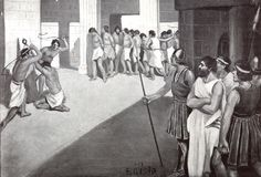 725 BC - Sparta conquers Messenia and forms Helot slavery. Having slaves to do all the tedious work of farming allows the Spartans to spend all their time in military training. World History Map, Greek History, Spartan Men, Ancient Greek Clothing, Ancient Sparta, Greco Persian Wars, Military Training, History Timeline, Prisoners Of War