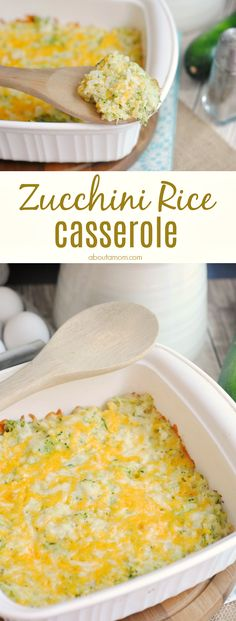 Perfect as a side dish or standalone vegetarian meal, this zucchini rice casserole recipe is cheesy, comforting and filling. Cauliflower Rice Casserole, Vegetarian Casserole, Easy Casserole Recipes, Vegetarian Recipes, Healthy Recipes, Zucchini Casserole, Healthy Food, Colliflower Recipes, Cooking Recipes