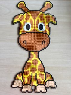 Perler, hama, giraf (Model af Anja Takacs) Pearler Bead Patterns, Perler Patterns, Bead Crafts, Diy And Crafts, Melty Bead Designs, Pixel Crochet Blanket, 3d Perler Bead, Hama Beads Design, Pixel Art