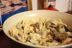 Pasta with Zucchini in a Creamy Mushroom Sauce Recipe Main Dishes with bow-tie pasta, olive oil, button mushrooms, hot water, crimini mushrooms, zucchini, shallots, garlic, corn starch, sherry, half & half, nutmeg