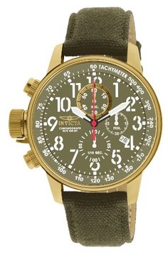 Invicta Mens IForce Chronograph Army Green Dial Army Green Canvas *** Click image to review more details. (This is an Amazon affiliate link)