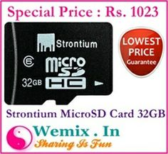 Strontium MicroSD Card 32GB Class 6 Rs. 1023 Memory Storage, Memories, Cards, Fun, Memoirs, Souvenirs, Maps, Playing Cards, Remember This