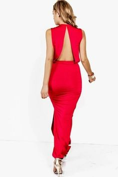 SEXY RED CUT OUT BACKLESS RUCHED  HIGH SLIT  EVENING MAXI DRESS - $40.00
