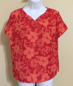 Judith Hart Petites Women's Red & Orange Short Sleeve Floral Blouse Size 12P NWT #JudithHart #Blouse #Casual