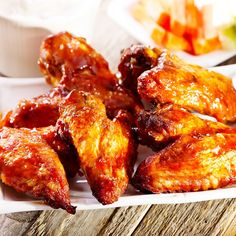 Mahogany-Style Grilled Wings with Sage Blue Cheese Sauce Crispy Baked Chicken Wings, Air Fryer Chicken Wings, Buffalo Wings, Blue Cheese Sauce, Grilled Wings, Yummy Chicken Recipes, Heart Healthy Recipes, Cooker Recipes, Meals