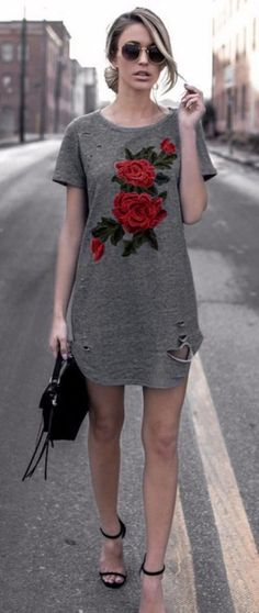 A casual t-shirt dress you can have fun accessorizing with a scarf, cute boots, and jewelry for a darling outfit