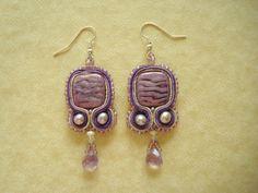 Elegant Lavender Soutache Earrings: Genuine Fresh Water Pearls and Amethyst Stones