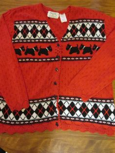 SCOTTY DOG BLACK AND RED CARDIGAN  SWEATER SIZE LARGE  #NORTHERNTRADITIONS #Cardigan