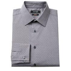 Men's Apt. 9® Extra-Slim Fit Gingham-Checked Stretch Dress Shirt, Size: 18.5-34/35, Grey