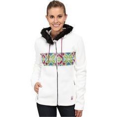 Spyder Soiree Hoodie Faux Fur Mid Weight Core Sweater (White/Multi)... ($80) ❤ liked on Polyvore featuring tops, hoodies, multi, hooded pullover, sweatshirt hoodies, hooded zip sweatshirt, lightweight hoodies and white hooded sweatshirt