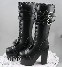 1/3 BJD Supper dollfie SD Bow Boots Shoes - Black