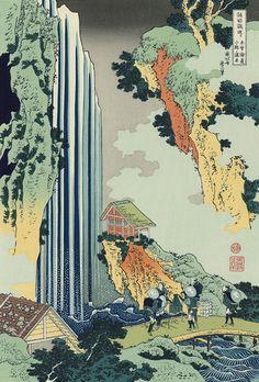 Fuji Arts Japanese Prints - Ono Waterfall on the Kisokaido Road by Hokusai - Japanese Art Prints, Japanese Artwork, Japanese Painting, Aesthetic Japan, Japanese Aesthetic, Art And Illustration, Japanese Illustration, Hokusai Paintings, Art Asiatique