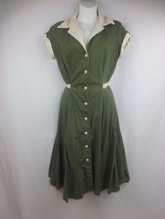Pinup Diner Dress Olive Green Heartbreaker's Fashion Size XL Made in the USA #HeartbreakersFashion #Casual