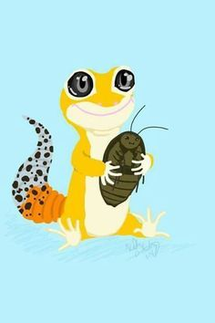 """PICS adorable leopard gecko and his best friend.... """"dinner"""""""