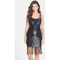 Adrianna Papell Sequin Fringe Sheath Dress