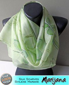 Silk Scarf Hand Painted. Dancing green Art.272 by MarijanaSilk, $46.00