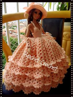 #Cléa5 #Doll #Crochet #Vestido #Dress #Barbie #Chapéu #Skirt #RaquelGaucha #Party #Festa #Muñeca