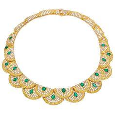 Exquisite Van Cleef and Arpels Diamond & Emerald Collar Necklace