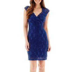 Blu Sage Cap-Sleeve Lace Keyhole Sheath Dress  found at @JCPenney