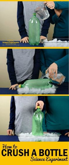 Here's another super simple experiment that almost seems magical. Follow the instructions for this science experiment and watch as the plastic bottle is crushed by the air around it. #CoolScienceHQ #Science #ScienceExperiments Cool Science Experiments, Easy Science, Science Fair Projects, Preschool Science, Science Classroom, Science Lessons, Teaching Science, Science For Kids, Science Activities