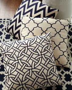 Monochrome cushions - I would mix one of these in with florals!