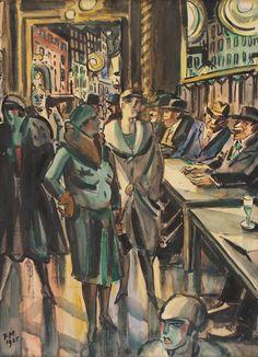 Le petit café, 1925. Frans Masereel