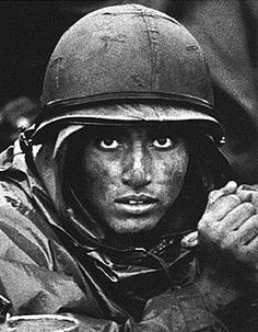 "American Marine in Vietnam War - from Life Magazine cover titled, ""Inside the Cone of Fire at Con Thien - October 27, 1967 photo by David Douglas Duncan"