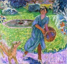 Pierre Bonnard (1867-1947) Girl Playing with a Dog [1913]