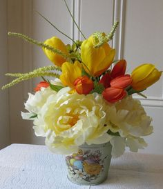 Free shipping Spring Bouquet peony tulips by BlueTulipWreaths, $40.00