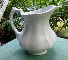 Antique English White Ironstone Pitcher by 4HollyLaneAntiques, $155.00