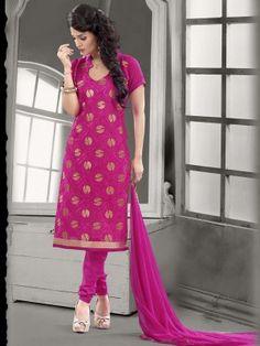 Pink Chanderi Cotton Classy Casual Salwar Kameez  Eid Collection salwar suit/kameez 2015 At parisworld.in