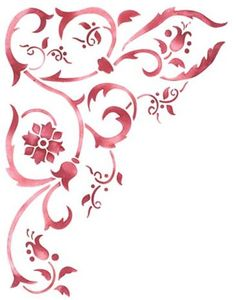 This corner scroll wall stencil is beautiful when used with the side border Printable Stencil Patterns, Wall Stencil Patterns, Stencil Designs, Wallpaper Designs, Interior Wall Colors, Stencil Wall Art, Paper Embroidery, Decoupage Paper, Corner Designs