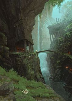 Ancient Elven forest. City. ART.