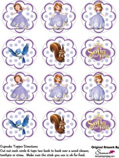 Free Printable Cupcake Tops Favor Box ♥ Sofia the First ♥ Princess Sofia