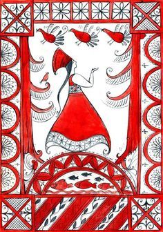 мезенские росписи иллюстрация - Поиск в Google