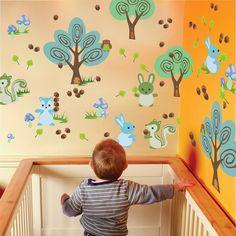 JULAN Kids Fox Wall Sticker Cute Nursery Cartoon Animal Critter Decal Sticker DIY Kids Bedroom Home Nursery Room Wall Mural Decor