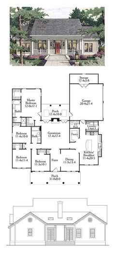 Colonial Style Cool House Plan Id: Total Living Area: 1997 Sq., 4 Bedrooms And Bathrooms. Best House Plans, Dream House Plans, Small House Plans, House Floor Plans, 4 Bedroom House Plans, Garage Bedroom, Colonial House Plans, Country House Plans, Farmhouse Plans