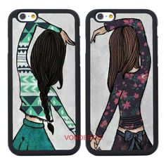 2PCS Sister Couples Bff Gift Case Cover for IPhone 7 7Plus 6S 6Plus 5 5S SE