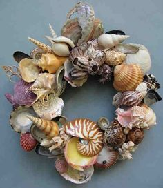 """This multi-layered x one-of-a-kind shell wreath was created by me using a blend of pristine and """"gently used"""" shells which I Seashell Wreath, Seashell Art, Seashell Crafts, Beach Crafts, Diy And Crafts, Arts And Crafts, Craft Projects, Projects To Try, Coastal Christmas"""