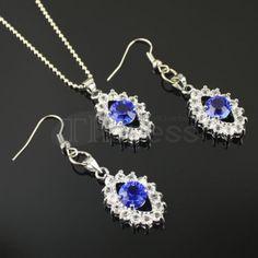 Deep blue diamond necklace set
