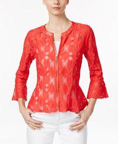 INC International Concepts Lace Peplum Jacket, Only at Macy's - Jackets - Women - Macy's