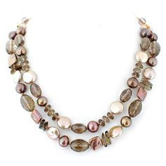 Champagne and gold pearl and crystal necklace