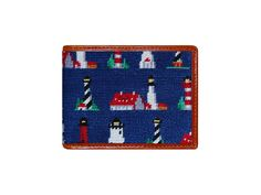 c1d2acbbc4f Lighthouse Pattern Needlepoint Bi-Fold Wallet